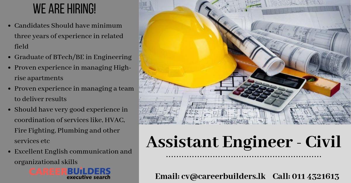 top jobs, job vacancies - Assistant Engineer - Civil in Colombo