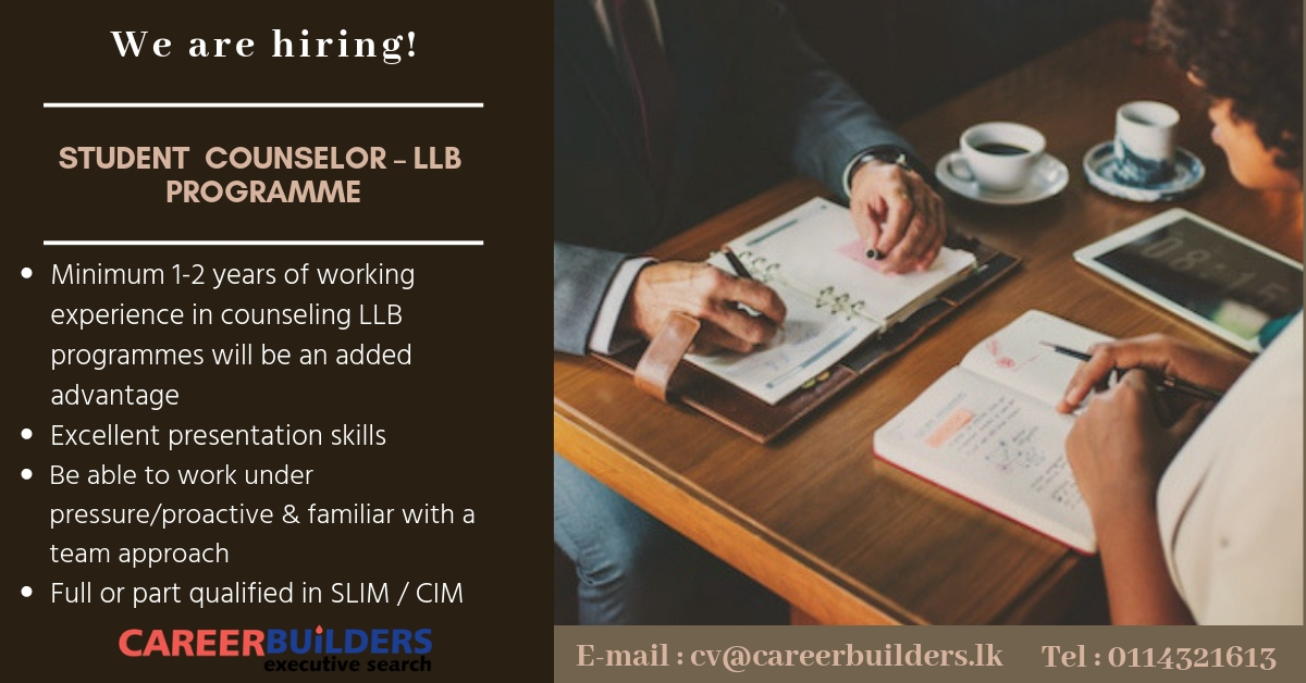 top jobs, job vacancies - Student Counselor -LLB Programme in Colombo