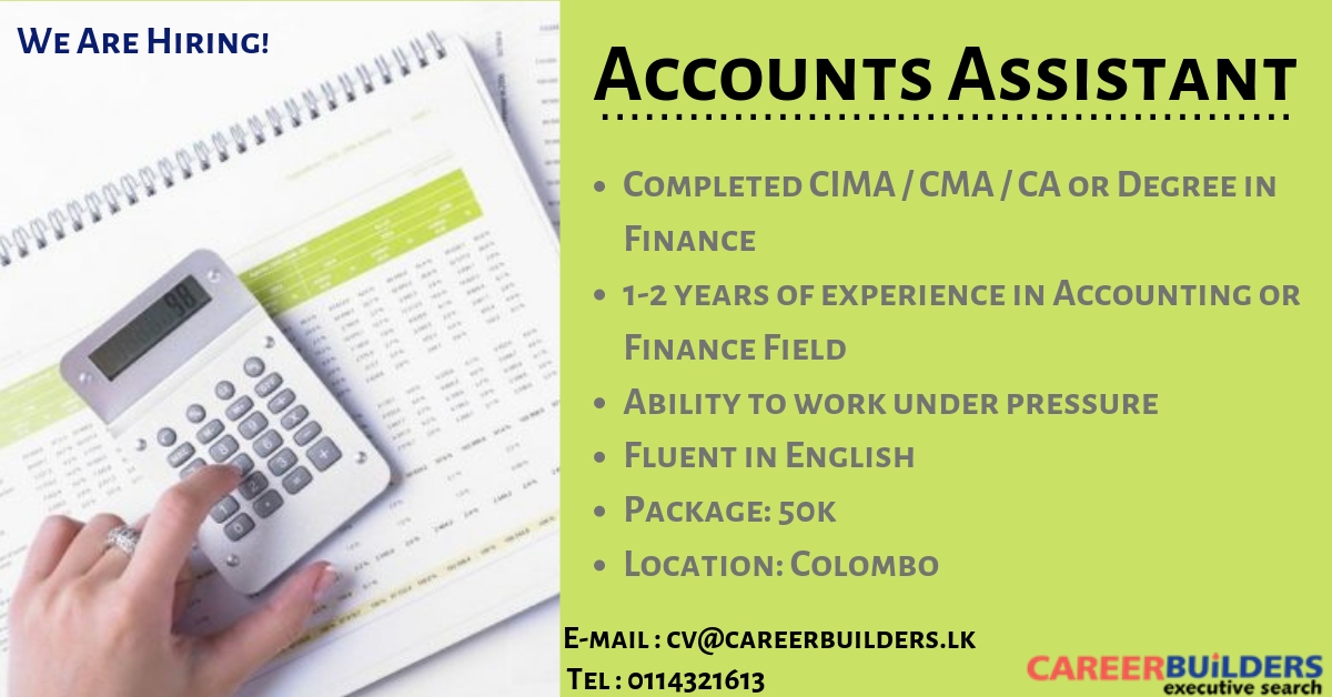 top jobs, job vacancies - Accounts Assistant in Colombo