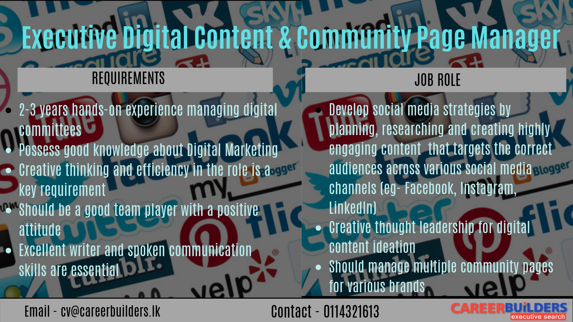 top jobs, job vacancies - Executive Digital Content & Community Page Manager in Colombo