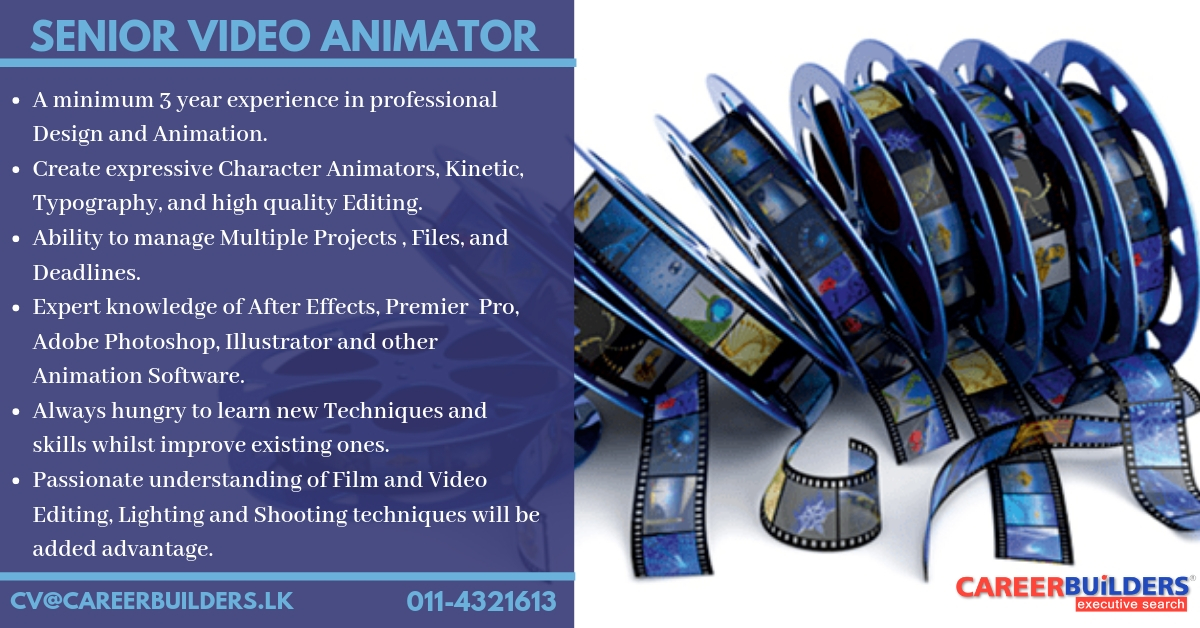 top jobs, job vacancies - Senior Video Animator in Colombo