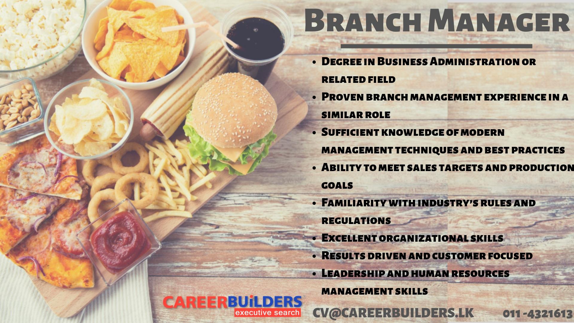 top jobs, job vacancies - Branch Manager in Colombo