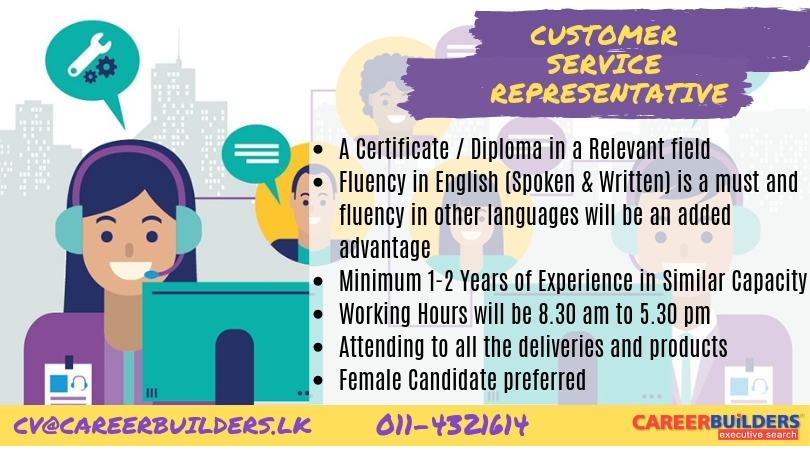 top jobs, job vacancies - CUSTOMER   SERVICE REPRESENTATIVE in Colombo