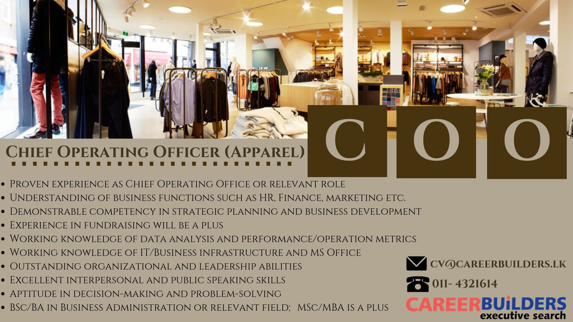 top jobs, job vacancies - Chief Operating Officer in Colombo