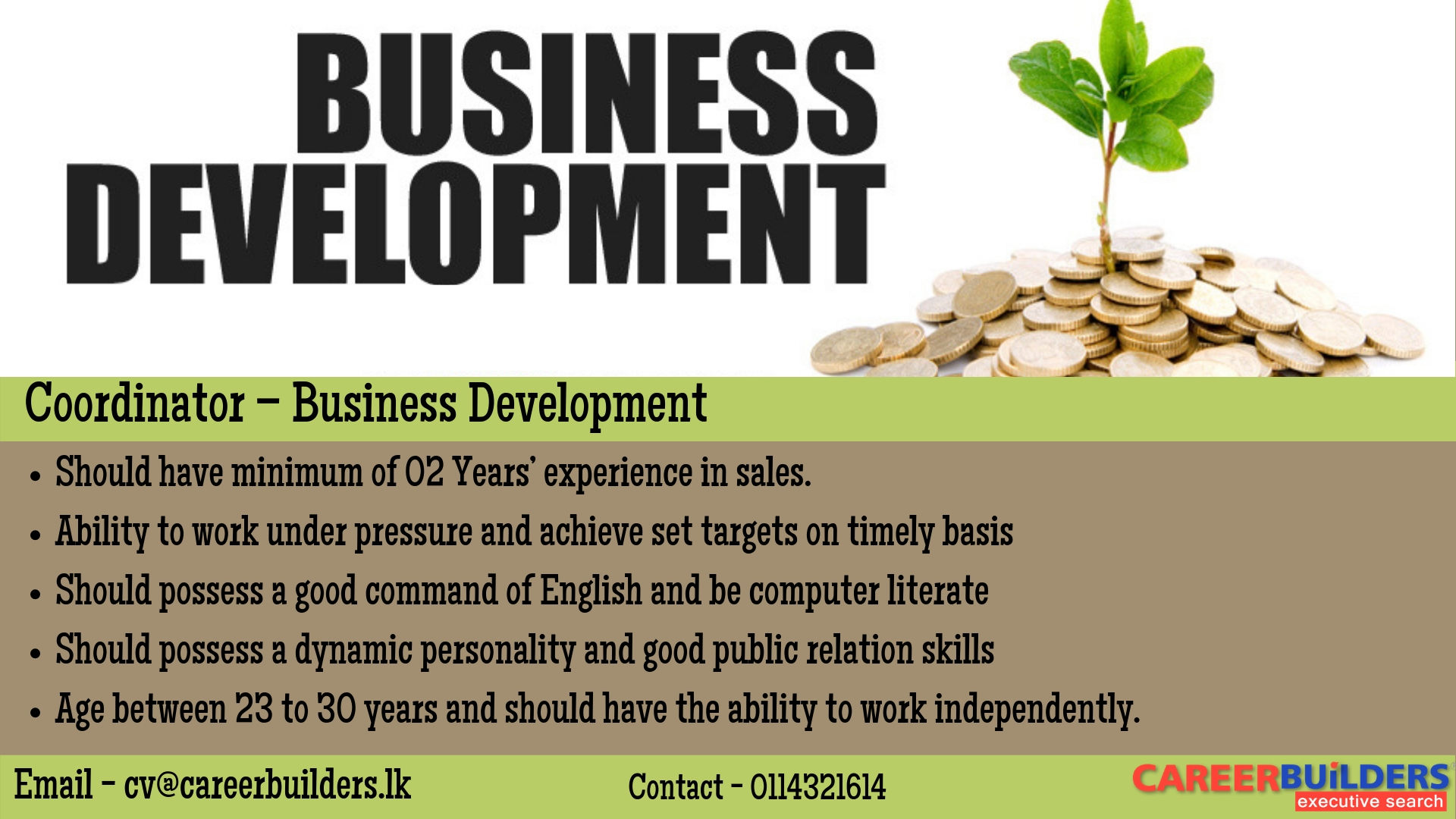 top jobs, job vacancies - Coordinator – Business Development in Colombo