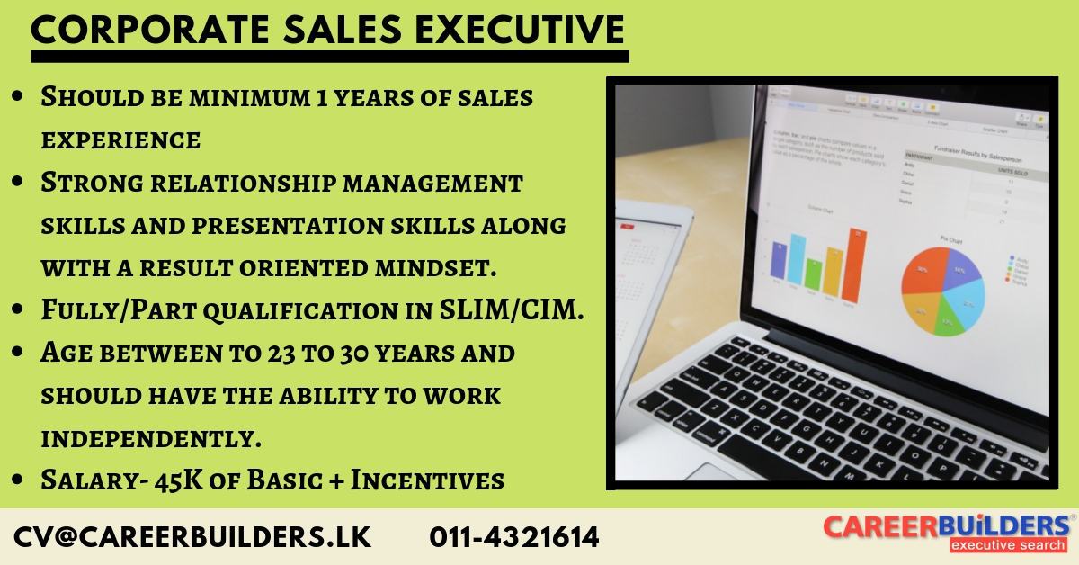top jobs, job vacancies - Corporate Sales Executive in Colombo