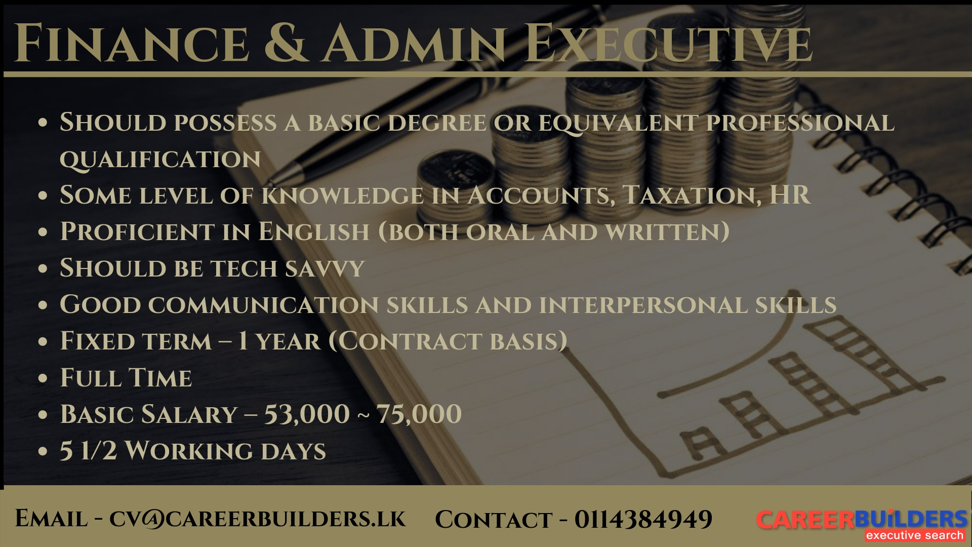 top jobs, job vacancies - Finance & Admin Executive in Colombo