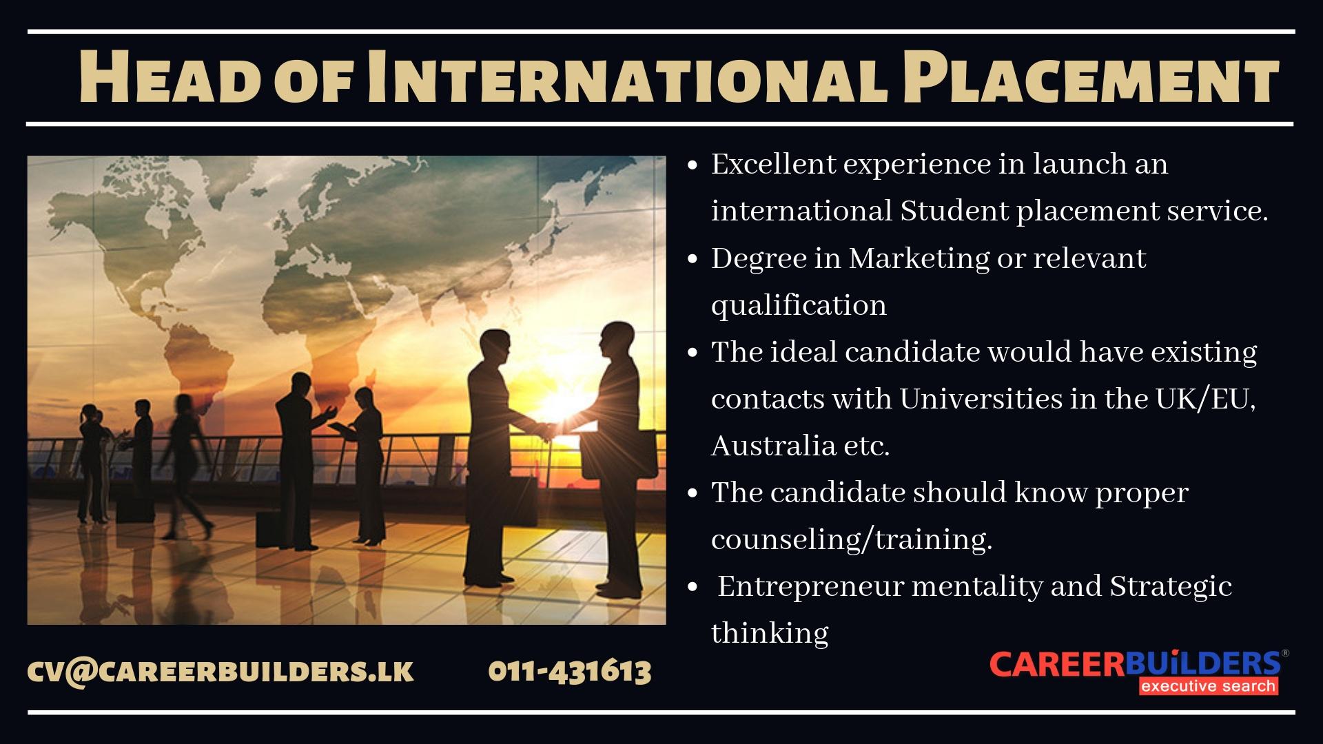 top jobs, job vacancies - Head of International Placement in Colombo
