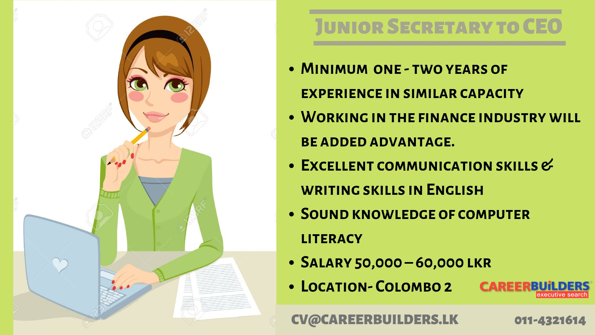 top jobs, job vacancies - Junior Secretary to CEO in Colombo