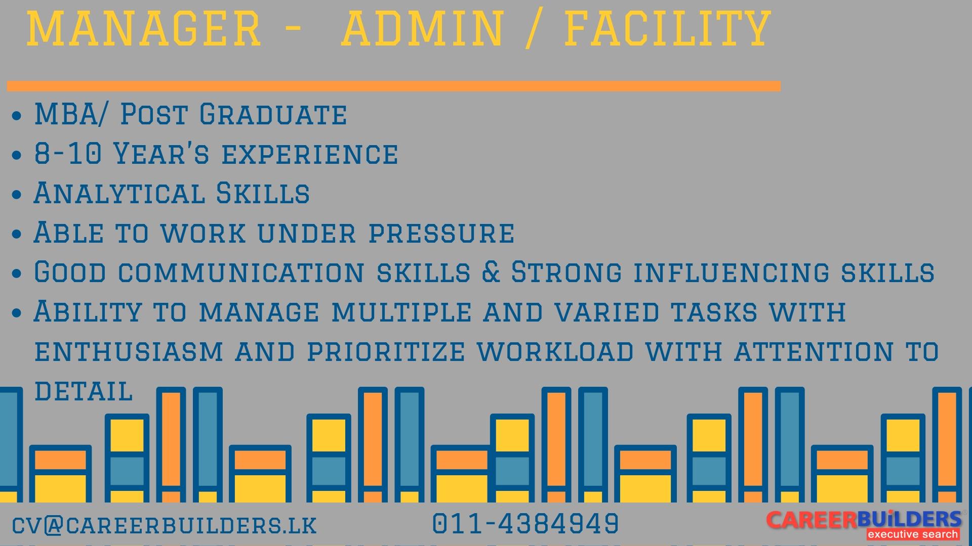 top jobs, job vacancies - Manager -  Admin / Facility in Colombo