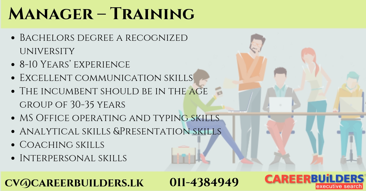 top jobs, job vacancies - Manager- Training in Colombo