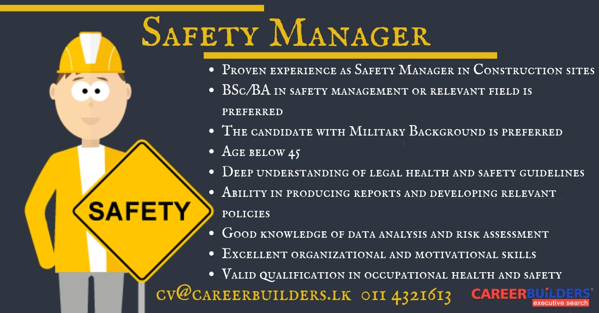 top jobs, job vacancies - Safety Manager in Colombo