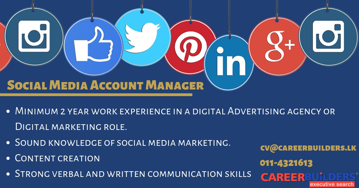 top jobs, job vacancies - Social Media Account Manager in Colombo
