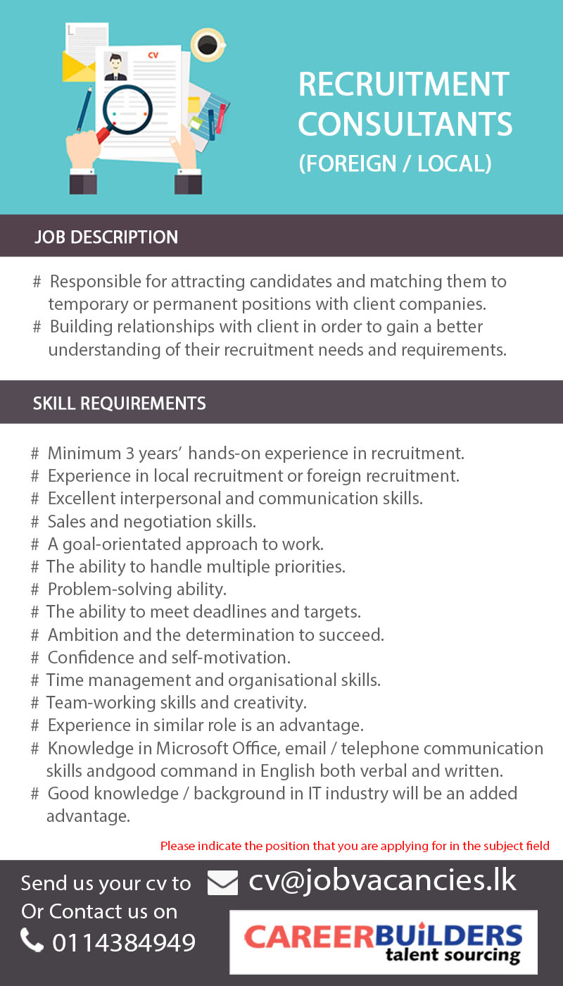 Topjobs in colombo recruitment consultant interested in this job submit your application thecheapjerseys Choice Image