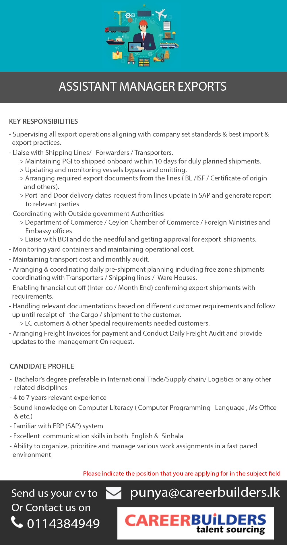 Assistant Manager Exports job vacancy at Career Builders