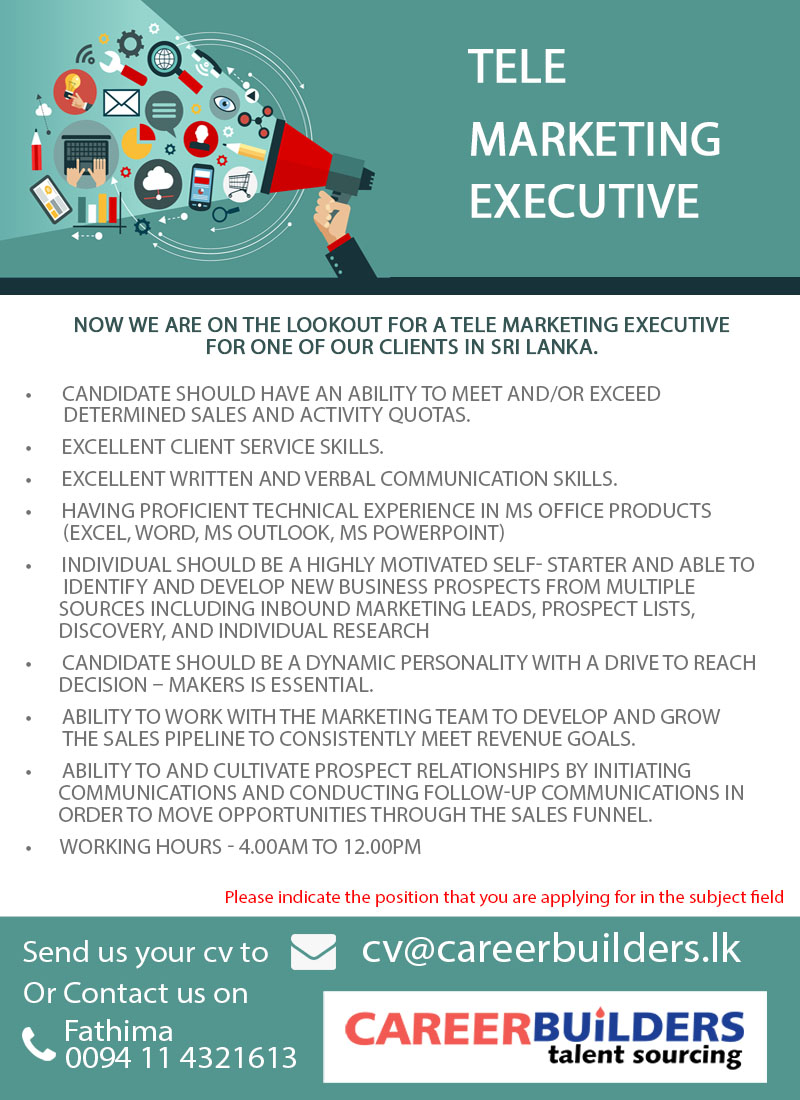tele marketing executive job vacancy at career builders