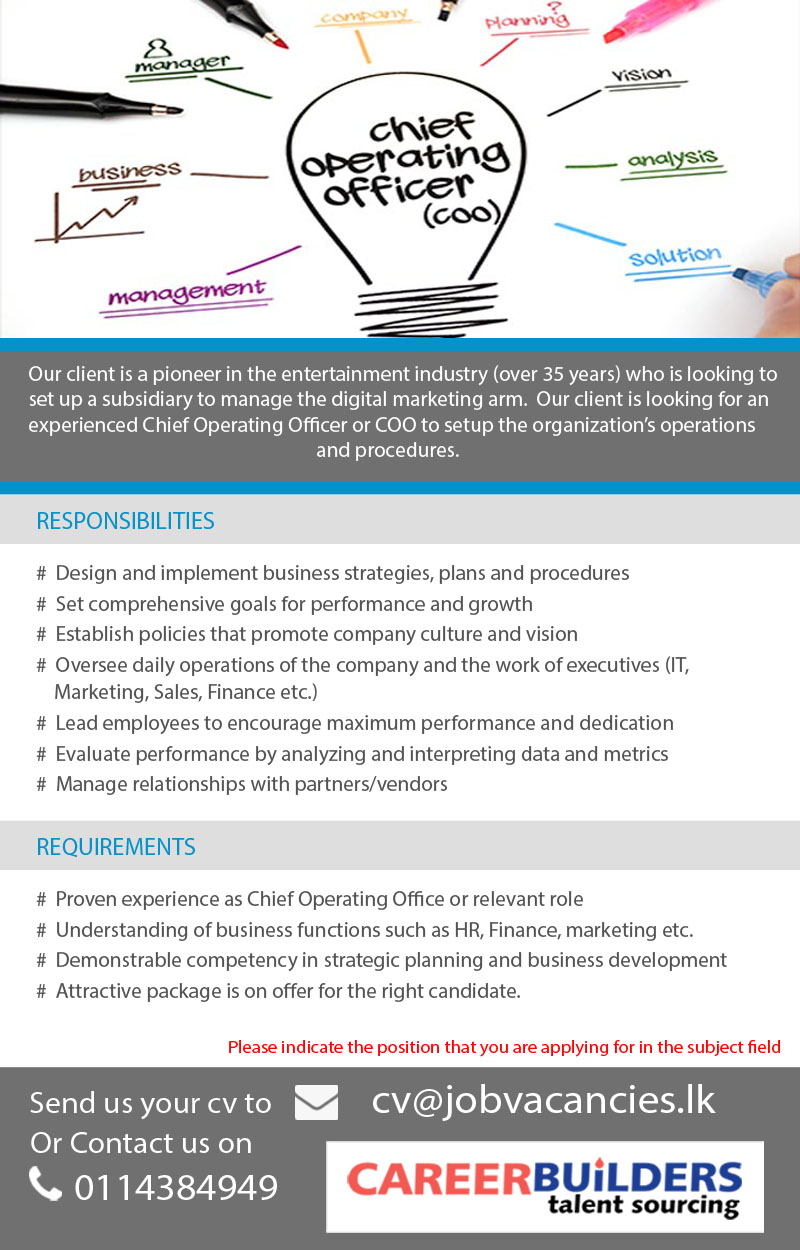 Topjobs in colombo chief operating officer coo - Chief operating officer jobs ...