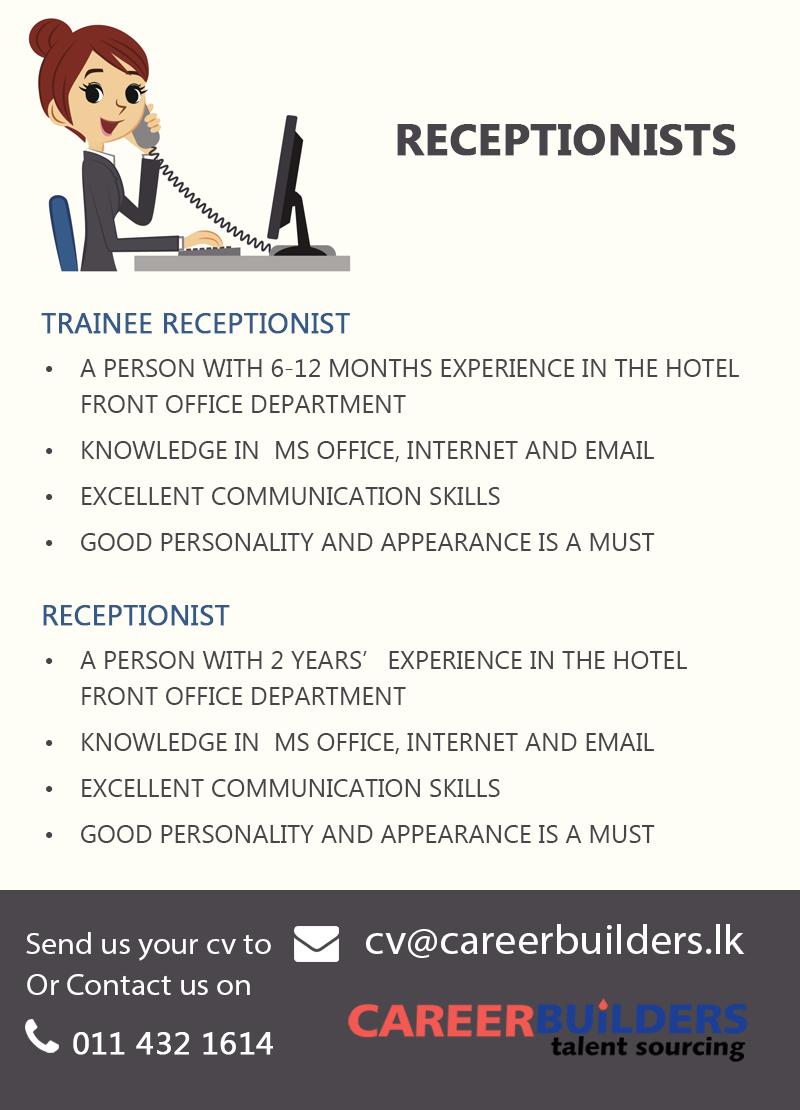 Receptionist Job Vacancy At Career Builders Pvt Ltd