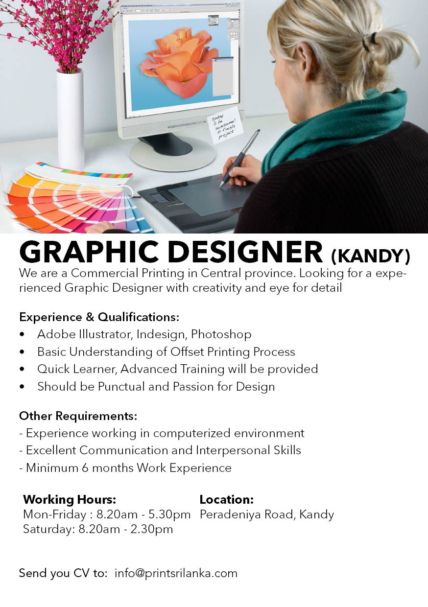 top jobs, job vacancies - Experienced Graphic Designer in Kandy