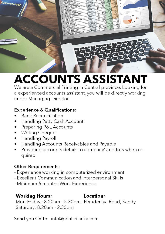 Accounts Assistant job vacancy at Kandy Offset Printers ...