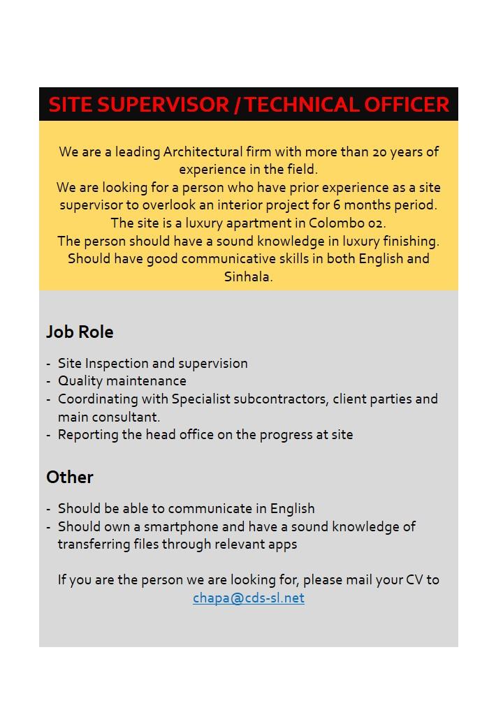 top jobs, job vacancies - Site Supervisor in Colombo