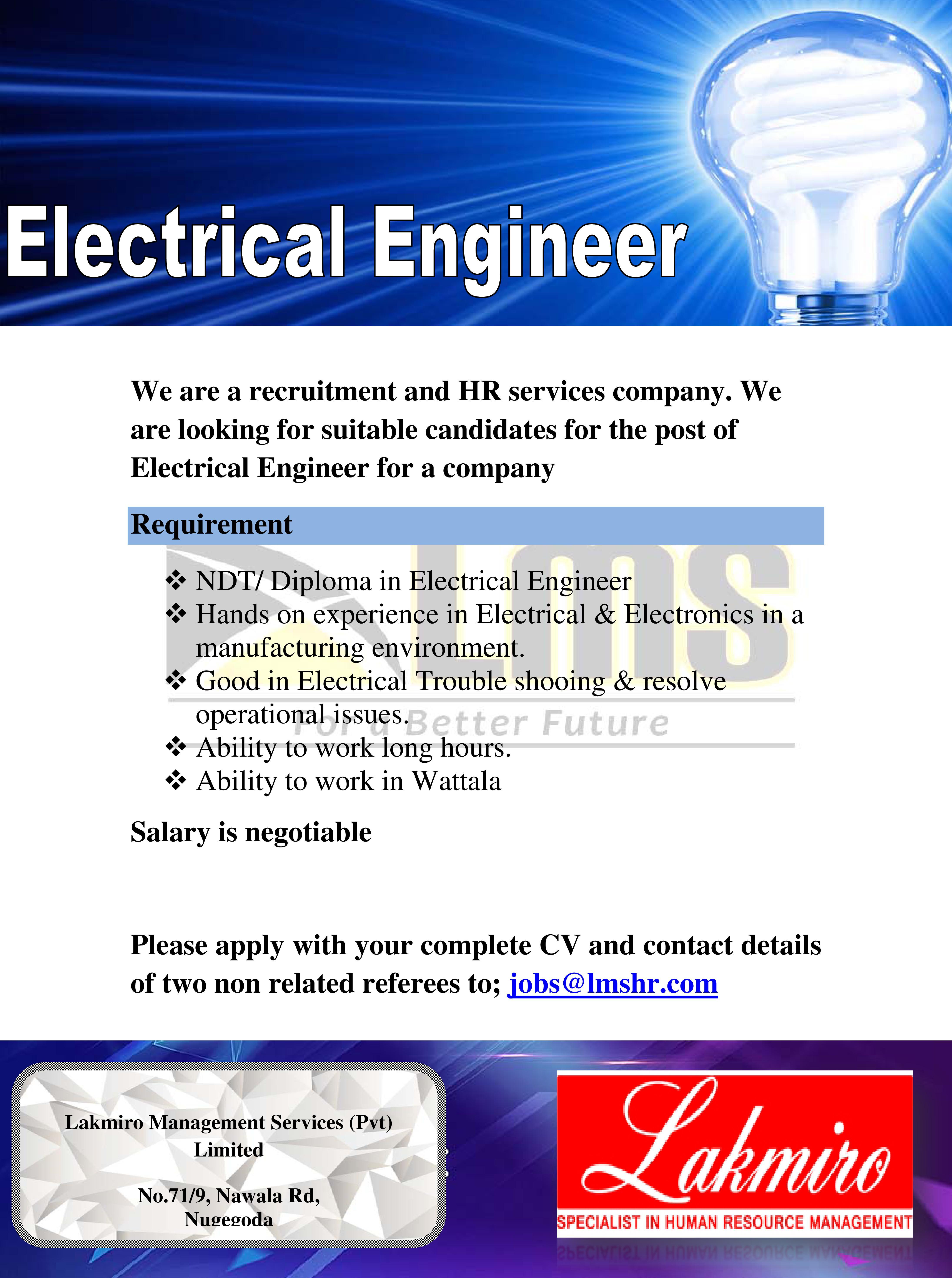 top jobs, job vacancies - Electrical Engineer in Gampaha