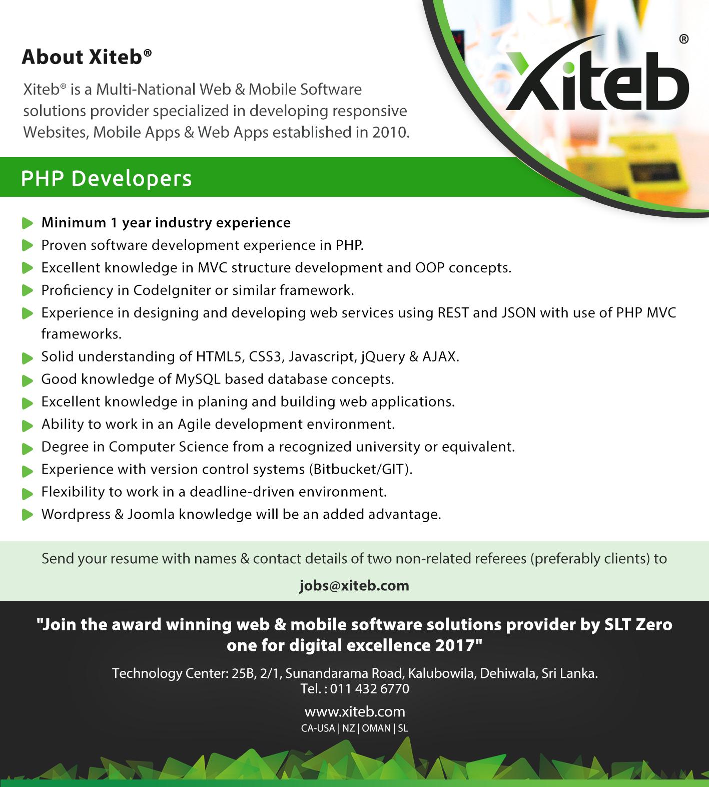 top jobs, job vacancies - PHP Developers in Colombo