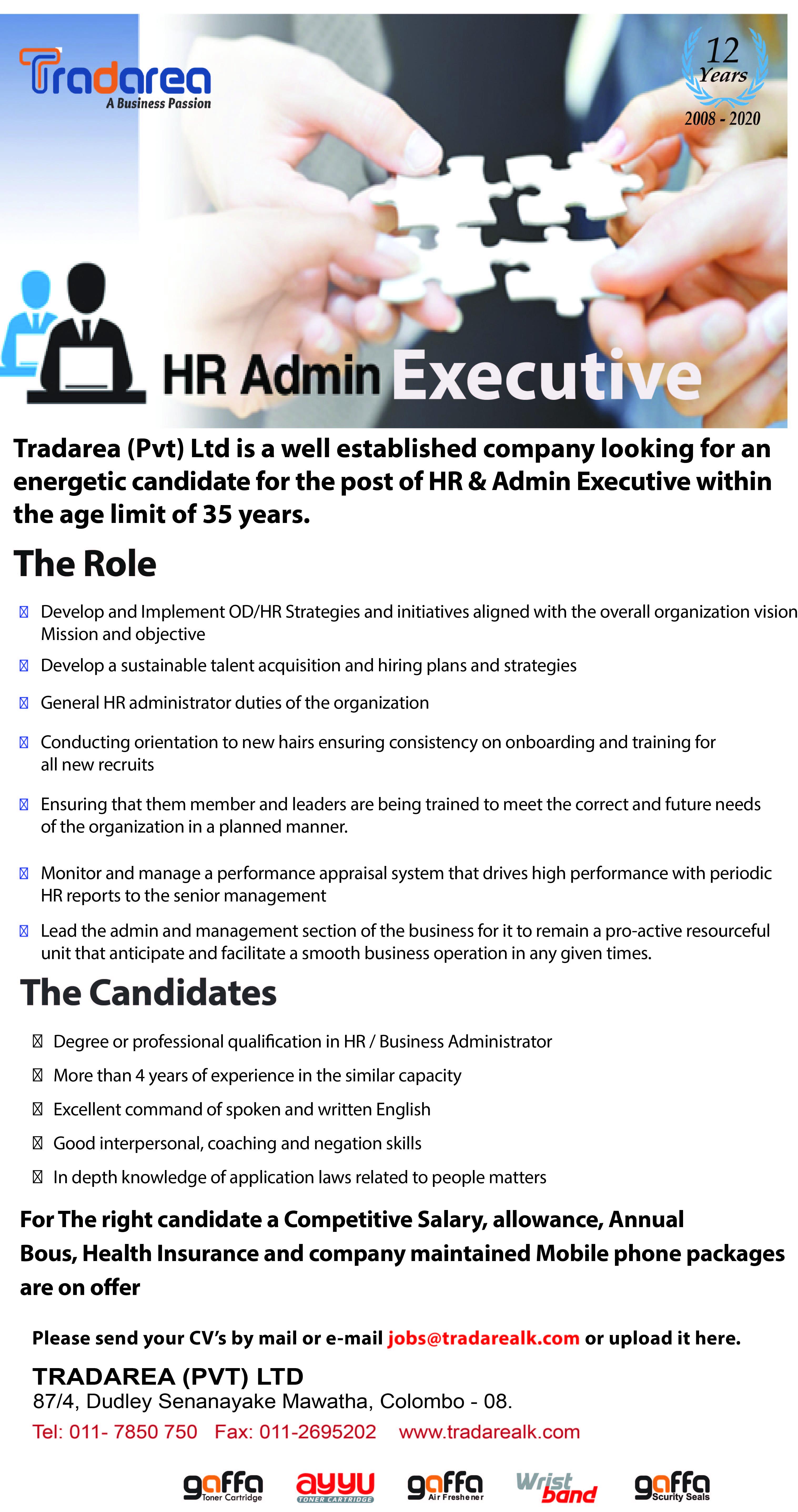 top jobs, job vacancies - HR & Admin Executive in Colombo