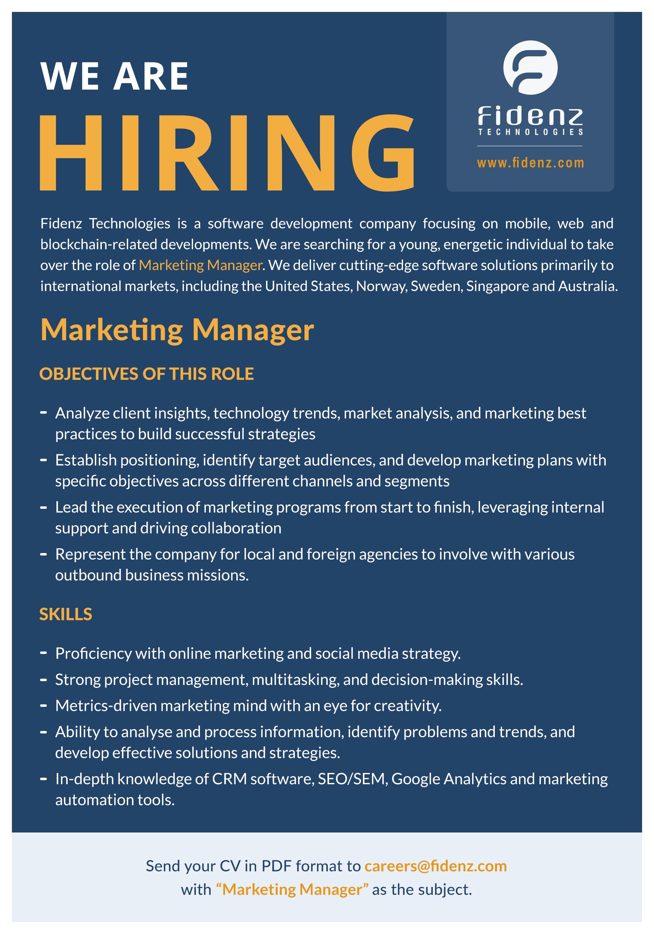 top jobs, job vacancies - Marketing Manager in Colombo