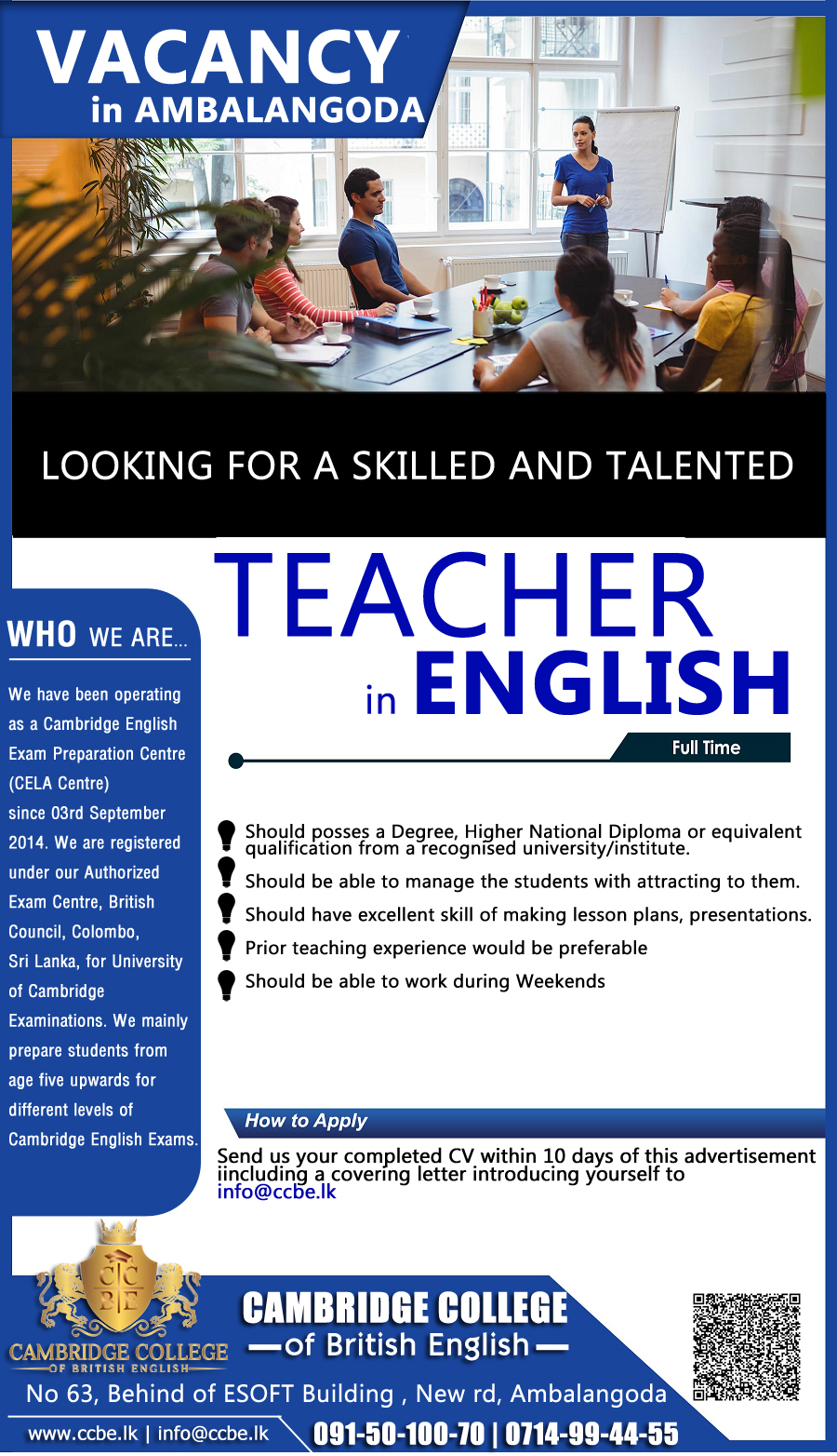 top jobs, job vacancies - Vacancy for English Teacher in Galle