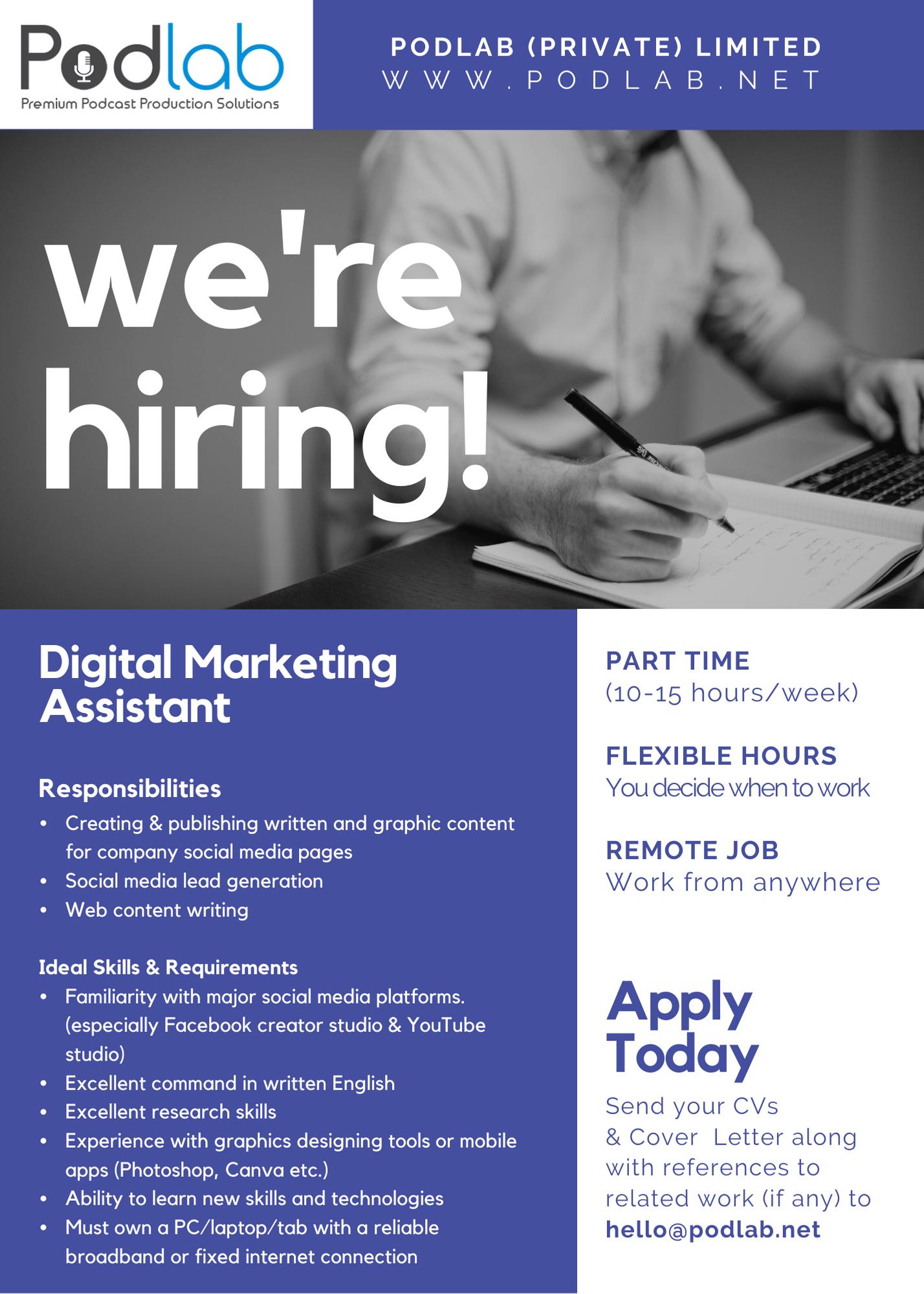 top jobs, job vacancies - Digital Marketing Assistant in Colombo