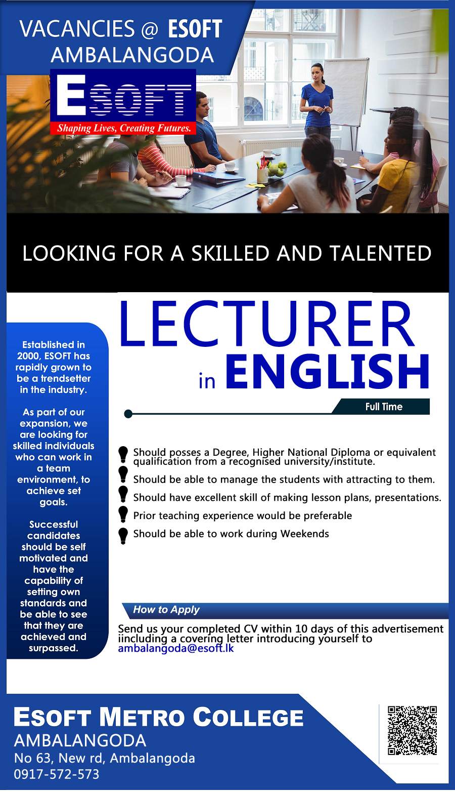 top jobs, job vacancies - Looking for English Lecturers in Galle