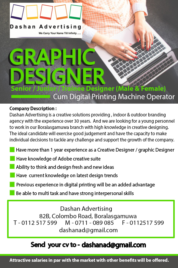top jobs, job vacancies - GRAPHIC DESIGNER in Colombo