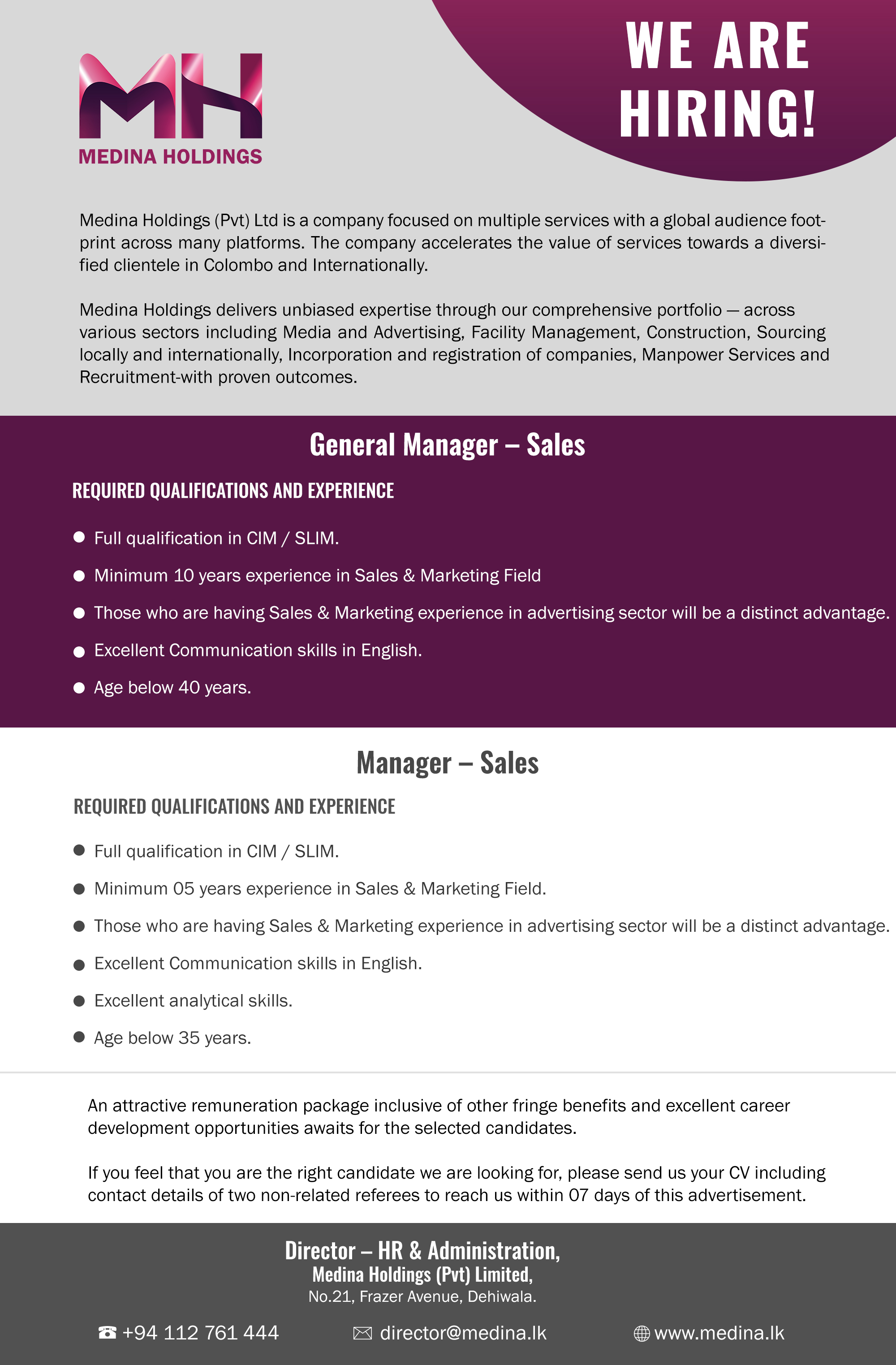 top jobs, job vacancies - General Manager - Sales Manager in Colombo