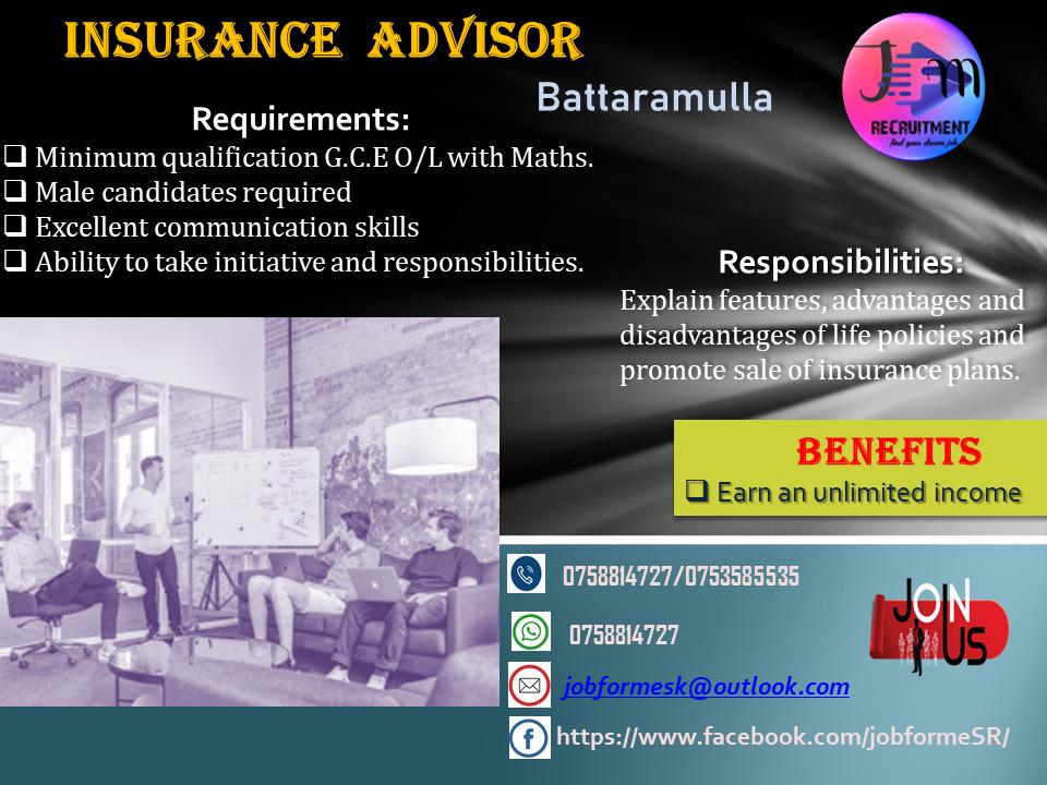top jobs, job vacancies - Insurance Advisor in Colombo
