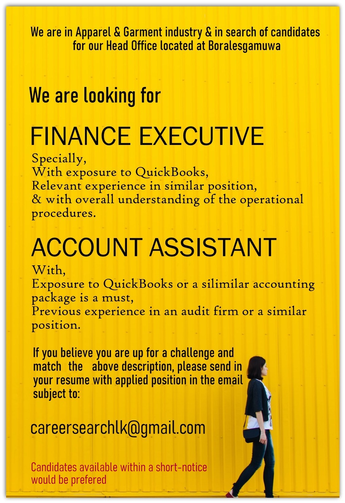 top jobs, job vacancies - Finance Executive in Colombo