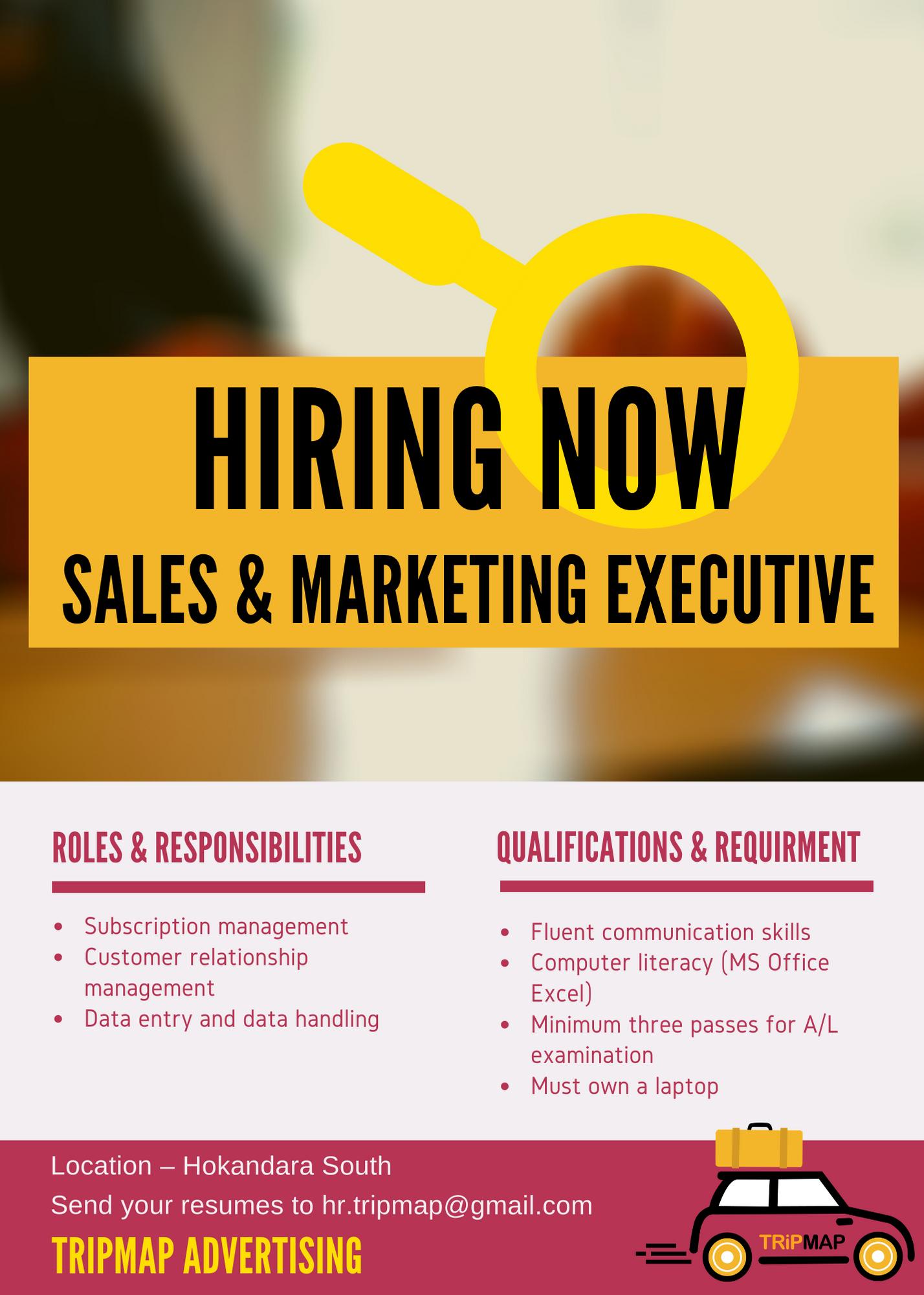 top jobs, job vacancies - Sales & Marketing Executive in Colombo